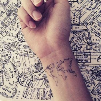 2pcs World Map Love Travel Wrist Tattoo   Inknart Temporary Tattoo   Wrist Quote Tattoo Body Sticker Fake Tattoo Wedding Tattoo Small Tattoo