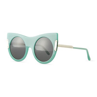 Round Sunglasses with Peaked Temples, Blue - Stella McCartney - Blue