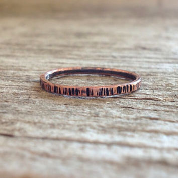 Tree Bark Textured Copper Stacking Skinny Ring - Made To Order - Bohemian Jewelry