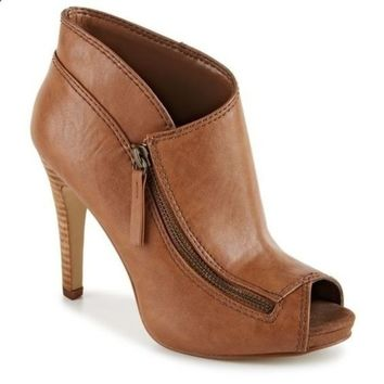 Women's Shoes High Heel Sandals Ankle High Quality Leather Side  Zipper 4 Colors