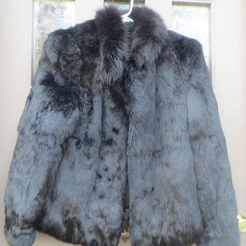 vintage Fab    80s  womens natural black  rabbit fur jacket satin lined ...small / med