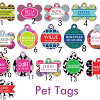 Personalized Trendy Pet Tags by polkadotsmg on Etsy