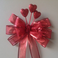 Valentine Bow, Gift Bow, Glitter Gift Bow, Wreath Stair Rail Door Mailbox Tree Topper Decoration