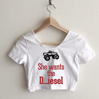 She Wants the Diesel Typography Women's Crop Top
