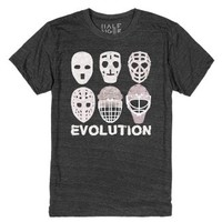 Hockey Goalie Mask Evolution Tee-Unisex Heather Onyx T-Shirt