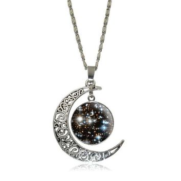 Galaxy Moon Pendant Necklace For Women