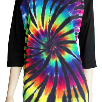 Black Rainbow tie dye spiral ladies baseball tee S - 3XL tye dyed top 3/4 raglan sleeve t shirt