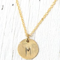 Me To We 'M' Stamped Necklace - Womens Jewelry - Gold - One