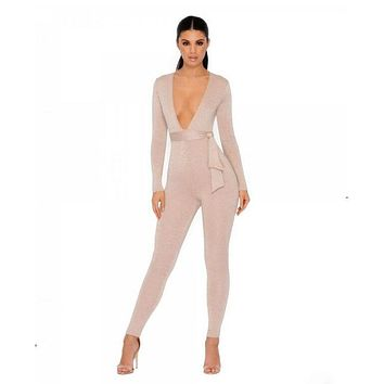 Winter Rompers Women's Jumpsuit Plunging Sexy Bodysuit Metallic Knit Party Club Play-suit Body-con Overalls