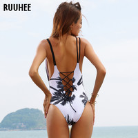 One Piece Swimsuit 2017 Sexy Swimwear Women Bathing Suit Swim Vintage Beach Wear Print Bandage Push up Monokini Swim Suit