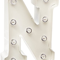 Darice Metal Letter N Marquee Light Up, White
