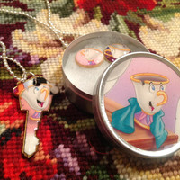 Disney's Beauty and the Beast Chip Altered Art Key Necklace and Earrings Set