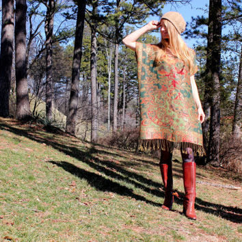 Boho Silk & Cashmere Gypsy Kaftan Caftan Dress with Fringe Bohemian Hippie Style Red Green Gold One Size