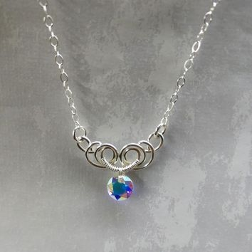 Silver Wire Sculpted Round Super Sparkly Crystal AB Pendant Necklace