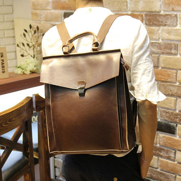 Men's Laptop Bag Leather Backpack Messenger Bag