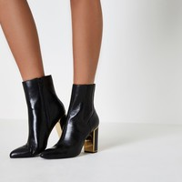 Black gold tone trim block heel leather boots - Boots - Shoes & Boots - women