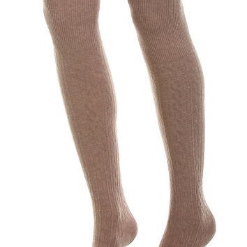 Cotton Cable Over The Knee Socks-Taupe