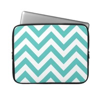 Zigzag Chevron Pattern in light blue Laptop Computer Sleeves from Zazzle.com