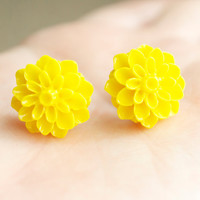 Banana Yellow Mum Earrings