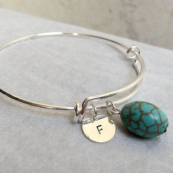 Bridal Gift for her, Turquoise bracelet Turquoise pendant Initial sterling silver initial bracelet adjustable bracelet Turquoise bracelet