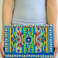 Caribbean Queen Oversized Clutch - Blue -  $35.00 | Daily Chic Accessories | International Shipping
