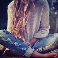 Mystery Hipster Outfit - High Waisted Denim Jeans - Oversized Mystery Sweater & FREE GIFT - All Sizes