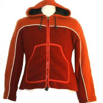 901 WJ (Hooded) Wool Fleece Lined Unisex Jacket Sweater Hand Knitted