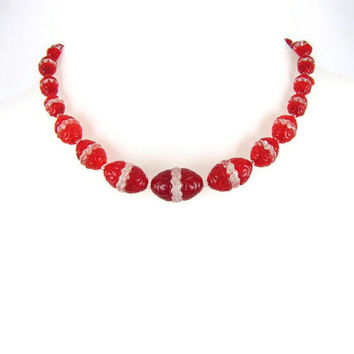 Czech Glass Choker - Vintage 1930s Art Deco Necklace, Red & Clear Interlocking Pressed Glass Beads with Zig Zag Teeth, Graduated