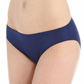 Lauren By Ralph Lauren Navy Laguna Solids Hipster with Logo Plate Bikini Bottoms Size