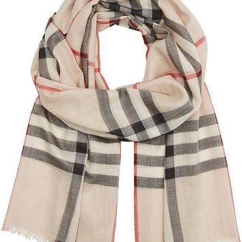 PEAPON Burberry Check Wool Silk Gauze Scarf - Stone Check