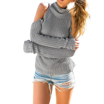 Women's Sexy Turtleneck Off Shoulder Knitted Pullover Sweater Jumper