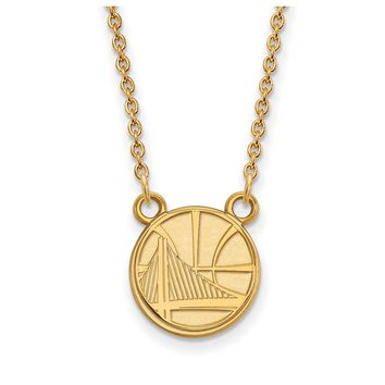 NBA Golden State Warriors Pendant Necklace in 10k Gold - 18 Inch