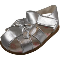 Shooshoos Girl's Silver Bird Leather Knotted Sandals