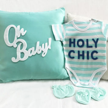 Gender Neutral Mint And White Baby Gift Set. Modern Chic Typography Mint Stripes Onesuit. Oh Baby Nursery Mint Pillow Cover Nursery Decor