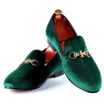 Harpelunde Green Velvet Slippers Buckle Strap Men Dress Shoes Fashion Loafers