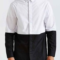 Colorblock Long Button-Down Shirt- Black & White