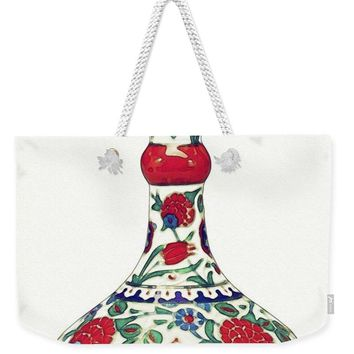 An Ottoman Iznik Style Floral Design Pottery Polychrome, By Adam Asar, No 5a - Weekender Tote Bag