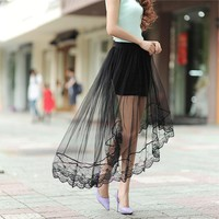 2016 New Summer Women's sexy lace skirts perspective skirts womens fashion long section skirt