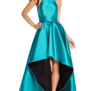 Alyce 60100 Two-tone High Low Dress- Emerald-Black