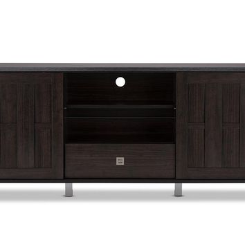 Baxton Studio Unna 70-Inch Dark Brown Wood TV Cabinet with 2 Sliding Doors and Drawer  Set of 1