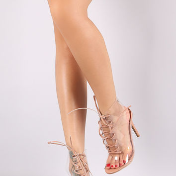 Shoe Republic LA Lucite Peep Toe Lace Up Mule Booties