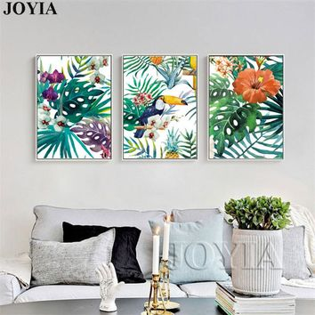 Watercolor Canvas Wall Art Rainforest Plants Bird Painting Tropical Leaves Wall Pictures Home Decoration No Frame
