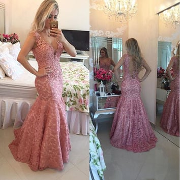 Elegant Mermaid Evening Dresses Sexy V Neck Sheer Back Lace Party Prom Gowns Custom Made