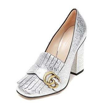 Wiberlux Gucci Women's Metallic Textured Real Leather Pumps