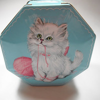 Vintage 1960s Decorative Candy Cat Tin Made In England Octagon Super Cute Container Kitten