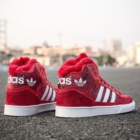 ADIDAS Trending Woman Men Casual Warm Velvet Winter High-Help Old Skool Sport Running Shoes Sneakers Red I