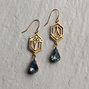 Art Deco Earrings ... Sapphire Art Nouveau September Birthstone