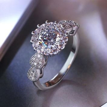 Nice Classic Engagement Women Wedding Rings Romantic Gift AAA Cubic zirconia Jewelry White gold color Fashion Jewelry for Lady