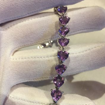 Handmade Genuine Purple Amethyst hearts Rhodium Finished 925 Sterling Silver Tennis Bracelet