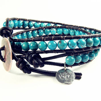 Kingman Natural Turquoise Wrap Bracelet, Genuine AAA Turquoise Beaded Wrap, Multi Wrap with Om Sterling Charm, His and Hers Jewelry